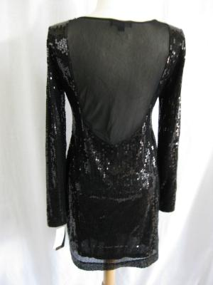 Black Long Dress on Black Sequin Long Sleeve Open Back Rampage Cocktail Dress   Split